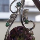 "Pendant Natural Gemstone Amethyst & Emerald 92.5% Sterling Silver 2.35x0.75""(23)"
