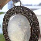 "925 Sterling Silver pendant natural Rainbow Moonstone Gemstone 1.95x1.2"" (404)"