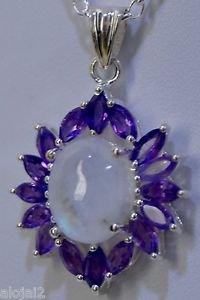 925 Sterling Silver Designer Marquise Amethyst & Rainbow Moonstone Pendant (525)