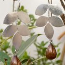 925 Solid Sterling Silver Pearl Earring Dangle Brown Frosted Leaf Design (482)