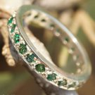 Ring Band  925 Sterling Silver natural Emerald Gemstone Handmade size 9.90 (550)