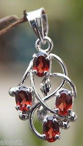 "Solid Sterling Silver 92.5% Pendant Natural Garnent Gemstone 1.25 x 0.65"" (629)"