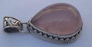 "Pendant Sterling Silver 925 natural Gemstone Pear Rose Quartz 1.60 x 0.9"" (397)"