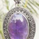 925 Sterling Silver Amethyst Pendant Handmade Natural oval Gemstone (620)