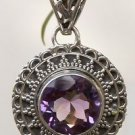 "Solid Sterling Silver 92.5% Pendant Purple Amethyst Handmade 1.7x0.65"" (476)"
