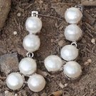 925 Solid Sterling Silver Round White Pearl Earrings big 1.90x0.9 inch (501)