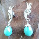 925 Sterling Silver Earring Natural cultured sky blue Pearl 1.35 x 0.30 inch (68