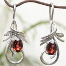 Sterling Silver 925 Red oval Garnent Earrings Dangle Jewellery Party (697)