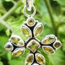 "Sterling Silver 92.5% Cross Pendant Natural Gemstone Citrine 1.80 x 1.00"" (6)"
