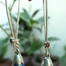 Sterling Silver 92.5% Long Blue Pearl Stick Earring Handmade 1.9x0.30 inch (212)