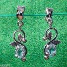 Dangle Earring 92.5% Sterling Silver oval Gemstone Blue Topaz 1.00 x 0.35 (250)