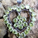 Pendant Natural Gemstone Peridot Heart 925 Sterling Silver 1.60 x 1.10 inch (81)