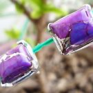 "92.5% Sterling Silver Eartops stud Purple Turquoise Handmade 0.40x0.35"" (91)"