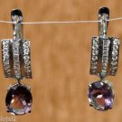 92.5% Sterling Silver Hook Earring Amethyst Simulated Diamond Handmade (295)