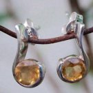 "92.5% Sterling Silver Eartops Citrine in  Round Solitaire 0.60x0.30"" (231)"