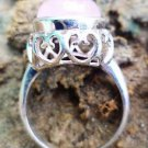 92.5% Solid Sterling Silver Ring Natural Rose Quartz Gemstone size 8 jali (170)