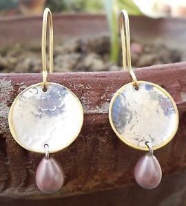 925 Sterling Silver Pink Pearl Ear Ring Gold Plating hammered finish Round  (29)