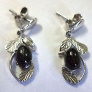 92.5% Solid Sterling Silver Earring Nature Inspired Black Onyx Gemstone (419)