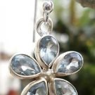 Earring Natural Gemstone Blue Topaz Flower Sterling Silver 925 (386)