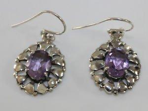 """Sterling Silver 92.5% hook Earrings Amethyst gemstone Handmade 0.90x0.40"""" (395)"""