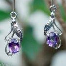 """92.5% Sterling Silver Earrings Amethyst handmade purple 1.70x0.30"""" (241)"""