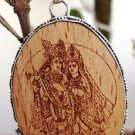"""925 Sterling Silver Pendant wooden carved Lord Radha Krishna 2.50 x 1.35"""" (139"""