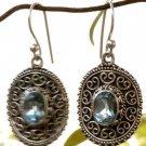 Sterling Silver 92.5% Dangle Earring oval Gemstone Blue Topaz 1.40 x 0.64 (467)