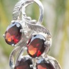 Sterling Silver 92.5% Pendant Natural cut Garnet Gemstone Handmade oval (667)
