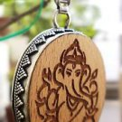 Pendant wooden carved Lord Ganesh 92.5% Sterling Silver 2.10 x 1.20 inch (97)
