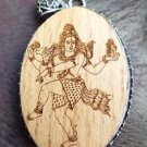 Pendant wooden carved Lord Shiva 92.5% Sterling Silver 2.50 x 1.40 inch (115)