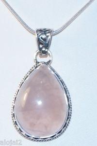 "925 Sterling Silver Pendant Rose quartz with snake chain Handmade 1.55x.83""(745)"