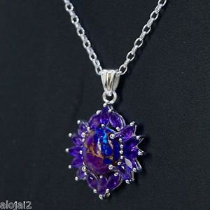 Sterling Silver 925 Pendant Marquise Amethyst & Purple Turquoise Handmade  (524)