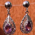 Sterling Silver 92.5% Earrings Handmade Hook Amethyst gemstone Pear Jali (299)