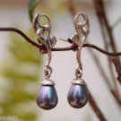 Earrings Grey Shell Pearl  Sterling Silver 92.5% Handmade 1.40 x 0.30 inch (224)