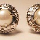 Sterling Silver 925 Gemstone Pearl jali Eartops 0.60 x0.60 inch handmade (705)