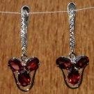 Earring Garnet AD Dangle Handmade Sterling Silver 92.5% 1.40 x 0.50 inch (296)