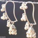 """925 Silver Mango Earring Pierced Handmade Silver bells 1.2 x 0.25"""" (330)"""