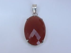 Sterling Silver 92.5% Pendant Carnelian Gemstone Oval Chequered Cutting Jali 384
