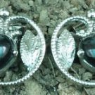 Earring 92.5% Sterling Silve Black Onyx stud Circle Nature 0.50x0.45 inch (374)