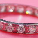 Solid Sterling Silver 92.5% Ring Band Zircon AD size 7.50 (357)