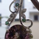 "92.5% Sterling Silver Pendant Natural Gemstone Amethyst & Emerald 2.35x0.75""(23)"