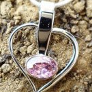 Heart Pendant 92.5% Sterling Silver Pink AD zirconia 1.20 x 0.60 inches (50)