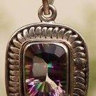 "92.5% Solid Sterling Silver Pendant Mystic Topaz Gemstone Handmade  1.4"" (413)"