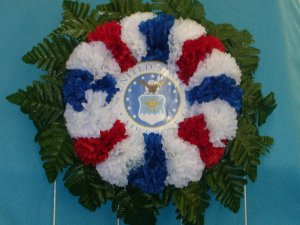 AirForce Cemetery Wreath, Grave Flowers w/Red White & Blue Carnations
