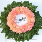 Peach-Tipped Yellow Silk Cemetery Flowers Grave Wreath for Grandma