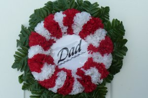 Red & White Silk Cemetery Flowers/Grave Wreath for Dad
