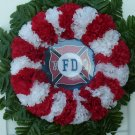 Red & White Silk Cemetery Flowers/Grave Wreath for a Fireman