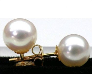 CERTIFIED 11mm Akoya White Pearl Earrings with 14K Clasp