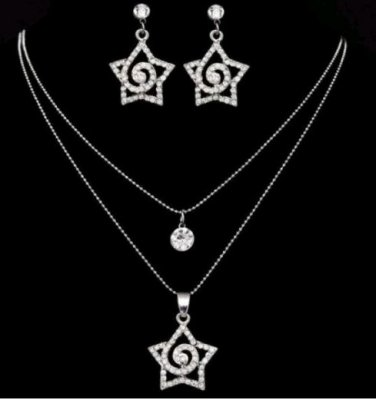 CERTIFIED 18K White Gold Double Layered Jewellery Set with Swarovski Crystals