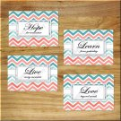 Aqua Teal Coral Chevron Zigzag Live Laugh Love Hope Quotes Wall Art Decor Pictures Prints